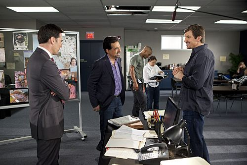 "Criminal Minds ""The Stranger"" -- Series stars Thomas Gibson (far left) and Joe Mantegna (second from left)joke around behind the scenes with Indianapolis Colts star Dallas Clark (far right)"