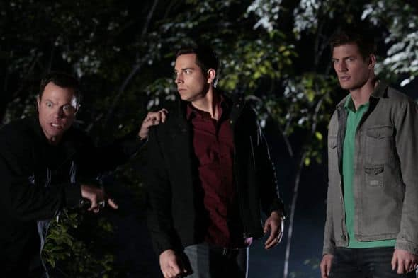 "CHUCK -- ""Chuck vs. Agent X"" Episode 422 -- Pictured: (l-r) Adam Baldwin as John Casey, Zachary Levi as Chuck Bartowski, Ryan McPartlin as Devon ""Captain Awesome"" Woodcomb -- Photo by: Chris Haston/NBC"