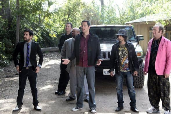 "CHUCK -- ""Chuck vs. Agent X"" Episode 422 -- Pictured: (l-r) Joshua Gomez as Morgan Grimes, Adam Baldwin as John Casey, Mark Christopher Lawrence as Big Mike, Zachary Levi as Chuck Bartowski, Vik Sahay as Lester Patel, Scott Krinsky as Jeff Barnes -- Photo by: Chris Haston/NBC"