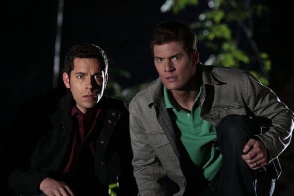 "CHUCK -- ""Chuck vs. Agent X"" Episode 422 -- Pictured: (l-r) Zachary Levi as Chuck Bartowski, Ryan McPartlin as Devon ""Captain Awesome"" Woodcomb-- Photo by: Chris Haston/NBC"