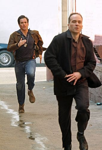 """Baltimore"" - After Tony's (Michael Weatherly, left) ex-partner, Danny Price, appears to be the Port-to-Port Killer's latest victim, he revisits his days as a detective in Baltimore, including his first encounter with Gibbs, on NCIS, Tuesday, May 3 (8:00-9:00 PM, ET/PT) on the CBS Television Network.  Photo: Monty Brinton/CBS ©2011 CBS Broadcasting Inc. All Rights Reserved"