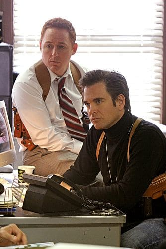 """Baltimore"" - After Tony's (Michael Weatherly, right) ex-partner, Danny Price (guest star Scott Grimes, left), appears to be the Port-to-Port Killer's latest victim, he revisits his days as a detective in Baltimore, including his first encounter with Gibbs, on NCIS, Tuesday, May 3 (8:00-9:00 PM, ET/PT) on the CBS Television Network. Photo: Monty Brinton/CBS ©2011 CBS Broadcasting Inc. All Rights Reserved"
