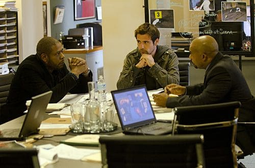 """Death by a Thousand Cuts"" -- Cooper (Forest Whitaker, left) and Mick (Matt Ryan, center) track a serial killer who is randomly shooting people in crowded areas, on the first season finale of CRIMINAL MINDS: SUSPECT BEHAVIOR, Wednesday, May 25 (10:00-11:00 PM, ET/PT) on the CBS Television Network. Photo: Randy Tepper/CBS ©2011 CBS Broadcasting Inc. All Right Reserved."