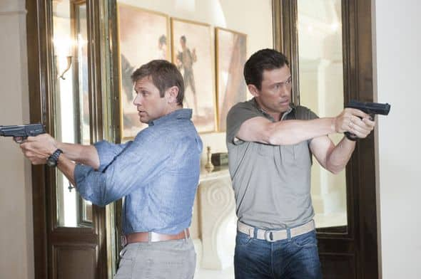 "BURN NOTICE -- ""Company Man"" -- Pictured: (l-r) Grant Show as Max, Jeffrey Donovan as Michael Westen -- Photo by: Virginia Sherwood/USA Network"