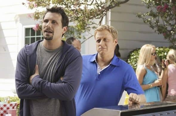 "SUBURGATORY - ""The Barbecue"" - After Ryan Shay (Parker Young) is goaded into kissing Tessa, she's shocked (and a little disgusted) to find there's serious chemistry between them. George finds out that, as the new neighbor on the block, he has to host ""the barbecue"" or face being ostracized, on ""Suburgatory,"" WEDNESDAY, OCTOBER 5 (8:30-9:00 p.m., ET) on the ABC Television Network. (ABC/KAREN NEAL) JEREMY SISTO, ALAN TUDYK"