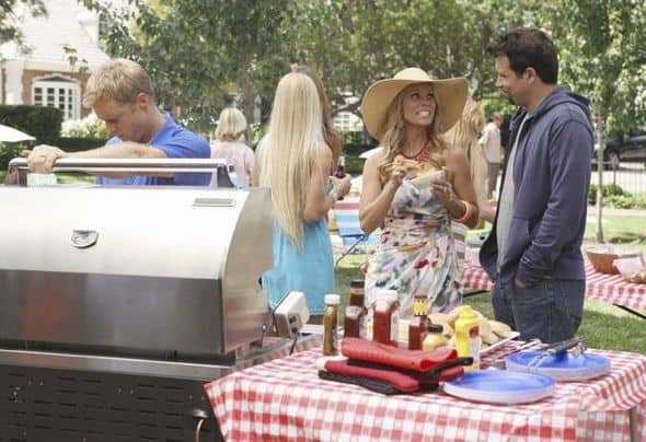 "SUBURGATORY - ""The Barbecue"" - After Ryan Shay (Parker Young) is goaded into kissing Tessa, she's shocked (and a little disgusted) to find there's serious chemistry between them. George finds out that, as the new neighbor on the block, he has to host ""the barbecue"" or face being ostracized, on ""Suburgatory,"" WEDNESDAY, OCTOBER 5 (8:30-9:00 p.m., ET) on the ABC Television Network. (ABC/KAREN NEAL) ALAN TUDYK, CHERYL HINES, JEREMY SISTO"
