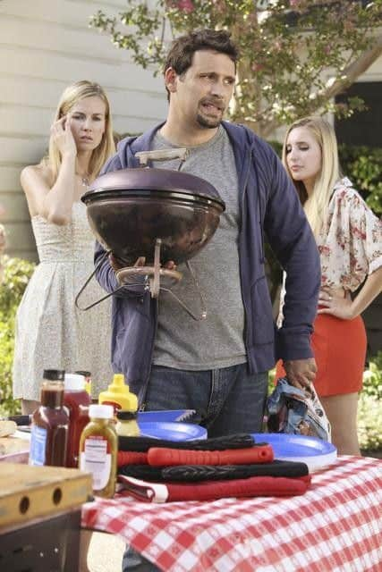 "SUBURGATORY - ""The Barbecue"" - After Ryan Shay (Parker Young) is goaded into kissing Tessa, she's shocked (and a little disgusted) to find there's serious chemistry between them. George finds out that, as the new neighbor on the block, he has to host ""the barbecue"" or face being ostracized, on ""Suburgatory,"" WEDNESDAY, OCTOBER 5 (8:30-9:00 p.m., ET) on the ABC Television Network. (ABC/KAREN NEAL) JEREMY SISTO"