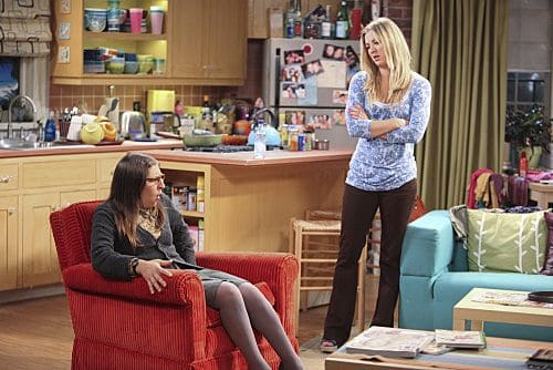 """The Infestation Hypothesis"" -- A fight between Sheldon and Penny (Kaley Cuoco, right) leaves Amy (Mayim Bialik, left) caught in the middle, while Leonard tries to spice up his long-distance relationship with Priya, on THE BIG BANG THEORY, at a special time, Thursday Sept. 22 (8:30-9:00 PM, ET/PT) on the CBS Television Network."