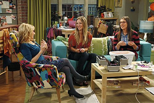 """""""The Wiggly Finger Catalyst"""" -- Penny (Kaley Cuoco, center) finds the perfect girl for Raj, on THE BIG BANG THEORY, Thursday, October 6 (8:00 - 8:31 PM, ET/PT) on the CBS Television Network. Also pictured: Melissa Rauch (left) and Mayim Bialik (right). Photo: Greg Gayne/Warner Bros. ©2011 Warner Bros. Television. All Rights Reserved."""