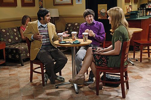 """""""The Wiggly Finger Catalyst"""" -- Raj (Kunal Nayyar, left) finally meets a girl (Katie LeClerc, right) he can communicate with, on THE BIG BANG THEORY, Thursday, October 6 (8:00 - 8:31 PM, ET/PT) on the CBS Television Network. Also pictured Simon Helberg (center). Photo: Greg Gayne/Warner Bros. ©2011 Warner Bros. Television. All Rights Reserved."""