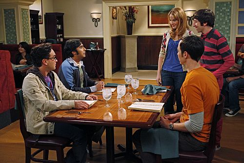 """The Wiggly Finger Catalyst"" -- Raj finally meets a girl he can communicate with, on THE BIG BANG THEORY, Thursday, October 6 (8:00 - 8:31 PM, ET/PT) on the CBS Television Network. Pictured (left to right): Johnny Galecki, Kunal Nayyar, Katie LeClerc, Simon Helberg, Jim Parsons. Photo: Greg Gayne/Warner Bros. ©2011 Warner Bros. Television. All Rights Reserved."