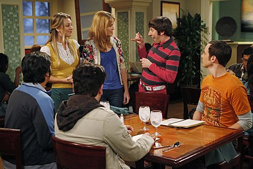"""""""The Wiggly Finger Catalyst"""" -- Penny (Kaley Cuoco, far left) finds the perfect girl (Katie LeClerc, second from left) for Raj, on THE BIG BANG THEORY, Thursday, October 6 (8:00 - 8:31 PM, ET/PT) on the CBS Television Network.  Also pictured: Simon Helberg (second from right) and Jim Parsons (far right). Photo: Greg Gayne/Warner Bros. ©2011 Warner Bros. Television. All Rights Reserved."""