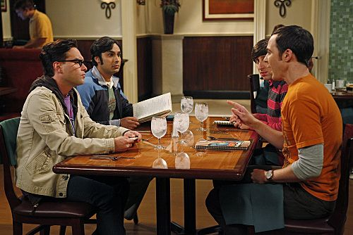 """""""The Wiggly Finger Catalyst"""" -- Raj finally meets a girl he can communicate with, on THE BIG BANG THEORY, Thursday, October 6 (8:00 - 8:31 PM, ET/PT) on the CBS Television Network. Pictured (left to right): Johnny Galecki, Kunal Nayyar, Simon Helberg, Jim Parsons. Photo: Greg Gayne/Warner Bros. ©2011 Warner Bros. Television. All Rights Reserved."""