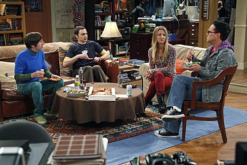 """""""The Wiggly Finger Catalyst"""" -- Penny (Kaley Cuoco, second from right) finds the perfect girl for Raj, on THE BIG BANG THEORY, Thursday, October 6 (8:00 - 8:31 PM, ET/PT) on the CBS Television Network.  Also pictured (left to right): Simon Helberg, Jim Parsons, Johnny Galecki. Photo: Greg Gayne/Warner Bros. ©2011 Warner Bros. Television. All Rights Reserved."""