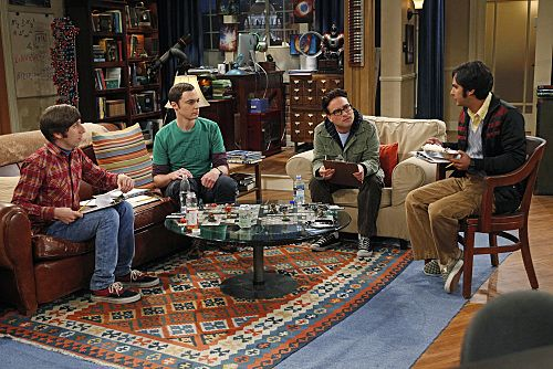 """""""The Wiggly Finger Catalyst"""" -- Raj (Kunal Nayyar, far right) finally meets a girl he can communicate with, on THE BIG BANG THEORY, Thursday, October 6 (8:00 - 8:31 PM, ET/PT) on the CBS Television Network. Also pictured (left to right): Simon Helberg, Jim Parsons, Johnny Galecki and Kunal Nayyar Photo: Greg Gayne/Warner Bros. ©2011 Warner Bros. Television. All Rights Reserved."""