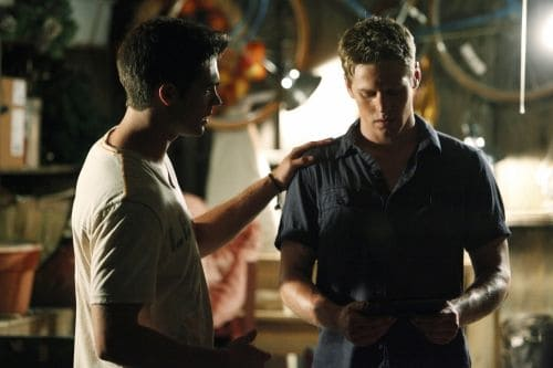 """The Hybrid""--LtoR: Steven R. McQueen as Jeremy Gilbert and Zach Roerig as Matt Donovan on THE VAMPIRE DIARIES on The CW. Photo: Quantrell D. Colbert/The CW ©2011 The CW Network. All Rights Reserved."