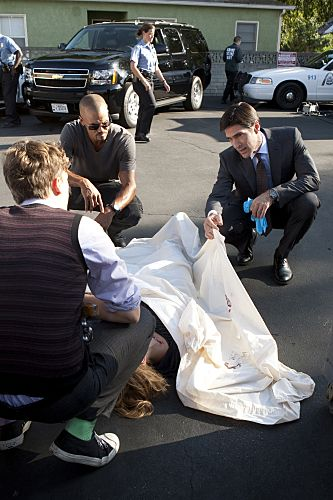 """""""From Childhood's Hour"""" -- Reid (Matthew Gray Gubler, left), Morgan (Shemar Moore, center) and Hotch (Thomas Gibson, right) inspect a victim as the BAU team investigate abductions of young children in St. Louis whose one commonality is that they have troubled mothers, on CRIMINAL MINDS, Wednesday, Oct. 19 (9:00-10:00 PM, ET/PT) on the CBS Television Network.  #CriminalMinds Photo: MONTY BRINTON/CBS ©2011 CBS BROADCASTING INC. All Rights Reserved."""