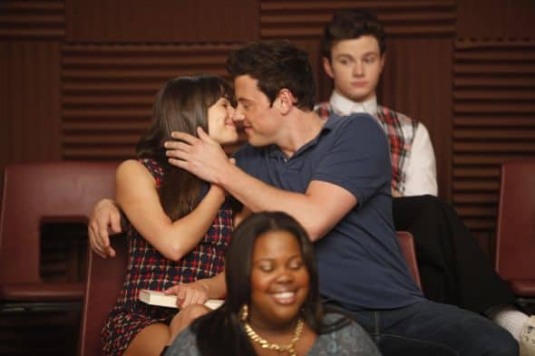 "GLEE: Rachel (Lea Michele) and Finn (Cory Monteith) in ""The Purple Piano Project"" the season three premiere episode of GLEE airing Tuesday, Sept. 20 (8:00-9:00 PM ET/PT) on FOX. ©2011 Fox Broadcasting Co. Cr: Adam Rose/FOX"