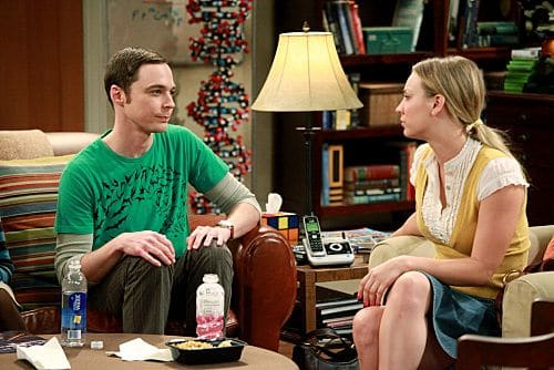"""""""The Pulled Groin Extrapolation"""" -- Sheldon (Jim Parsons, left) and Penny (Kaley Cuoco, right) wonder how they'll get along when Leonard goes to a wedding as Amy's date.  Meanwhile, Howard and Bernadette spend the weekend with Mrs. Wolowitz, on THE BIG BANG THEORY, Thursday, Sept. 29 (8:00-8:31 PM, ET/PT) on the CBS Television Network. Photo: Richard Cartwright/CBS ©2011 CBS Broadcasting Inc. All Rights Reserved"""