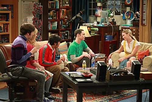 """""""The Pulled Groin Extrapolation"""" -- Sheldon and Penny wonder how they'll get along when Leonard goes to a wedding as Amy's date.  Meanwhile, Howard and Bernadette spend the weekend with Mrs. Wolowitz, on THE BIG BANG THEORY, Thursday, Sept. 29 (8:00-8:31 PM, ET/PT) on the CBS Television Network.  Pictured, left to right:  Simon Helberg, Kunal Nayyar, Jim Parsons, Kaley Cuoco. Photo: Richard Cartwright/CBS ©2011 CBS Broadcasting Inc. All Rights Reserved"""
