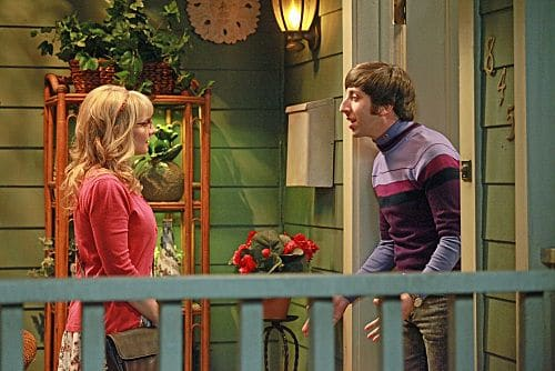 """""""The Pulled Groin Extrapolation"""" -- Sheldon and Penny wonder how they'll get along when Leonard goes to a wedding as Amy's date.  Meanwhile, Howard (Simon Helberg, right) and Bernadette (Melissa Rauch, left) spend the weekend with Mrs. Wolowitz, on THE BIG BANG THEORY, Thursday, Sept. 29 (8:00-8:31 PM, ET/PT) on the CBS Television Network. Photo: Richard Cartwright/CBS ©2011 CBS Broadcasting Inc. All Rights Reserved"""