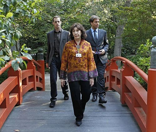 """""""The Penelope Papers"""" -- The line between McGee's personal and professional life is blurred when NCIS uncovers a connection between his grandmother and the murder of a Navy lieutenant, on NCIS, Tuesday, Oct. 4 (8:00-9:00 PM, ET/PT) on the CBS Television Network. Lily Tomlin guest stars as Penelope Langston, McGee's grandmother. Pictured left to right: Sean Murray, Lily Tomlin and Michael Weatherly Photo: Cliff Lipson/CBS  ©2011 Broadcasting Inc. All Rights Reserved"""