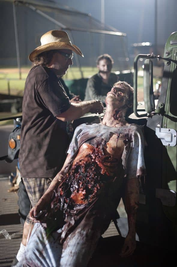 Greg Nicotero works on a zombie - The Walking Dead - Season 2, Episode 3 - Photo Credit: Gene Page/AMC