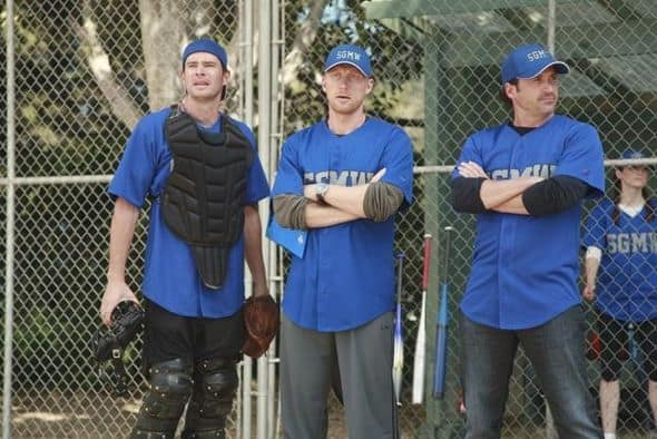 "GREY'S ANATOMY - ""Put Me In, Coach"" - Owen stresses teamwork and moves his leadership role over to the baseball field when he signs the doctors up for a baseball league, pitting them against their biggest competition, Seattle Presbyterian; Lexie tries to hide her jealous rage when she sees Mark with a new woman, but her emotions get the better of her; Alex fights to keep Zola at Seattle Grace after it is suggested that she be moved to another hospital due to a conflict of interest with Meredith and Derek; and Richard scolds Meredith and Bailey for their feud, on Grey's Anatomy, THURSDAY, OCTOBER 27 (9:00-10:02 p.m., ET) on the ABC Television Network. (ABC/RICHARD CARTWRIGHT) SCOTT FOLEY, KEVIN MCKIDD, PATRICK DEMPSEY"