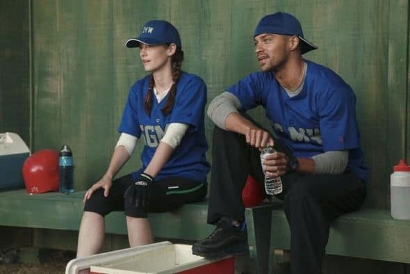 "GREY'S ANATOMY - ""Put Me In, Coach"" - Owen stresses teamwork and moves his leadership role over to the baseball field when he signs the doctors up for a baseball league, pitting them against their biggest competition, Seattle Presbyterian; Lexie tries to hide her jealous rage when she sees Mark with a new woman, but her emotions get the better of her; Alex fights to keep Zola at Seattle Grace after it is suggested that she be moved to another hospital due to a conflict of interest with Meredith and Derek; and Richard scolds Meredith and Bailey for their feud, on Grey's Anatomy, THURSDAY, OCTOBER 27 (9:00-10:02 p.m., ET) on the ABC Television Network. (ABC/RICHARD CARTWRIGHT) CHYLER LEIGH, JESSE WILLIAMS"