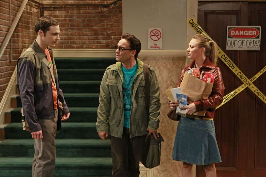 """""""The Good Guy Fluctuation"""" -- A cute comic book artist puts Leonard (Johnny Galecki, center) and Priya's relationship to the test, while Sheldon (Jim Parsons, left) tries to scare the guys for Halloween, on THE BIG BANG THEORY, Thursday Oct. 27 (8:00 - 8:31 PM, ET/PT) on the CBS Television Network. Also pictured: Kaley Cuoco, right. Photo: Monty Brinton/CBS ©2011 CBS Broadcasting Inc. All Rights Reserved"""
