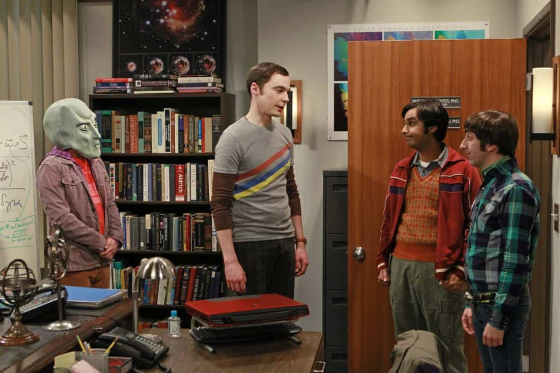 """""""The Good Guy Fluctuation"""" -- A cute comic book artist puts Leonard and Priya's relationship to the test, while Sheldon (Jim Parsons, second from left) tries to scare the guys (Kunal Nayyar, second from right; Simon Helberg, right) for Halloween, on THE BIG BANG THEORY, Thursday Oct. 27 (8:00 - 8:31 PM, ET/PT) on the CBS Television Network.   Photo: Monty Brinton/CBS ©2011 CBS Broadcasting Inc. All Rights Reserved"""
