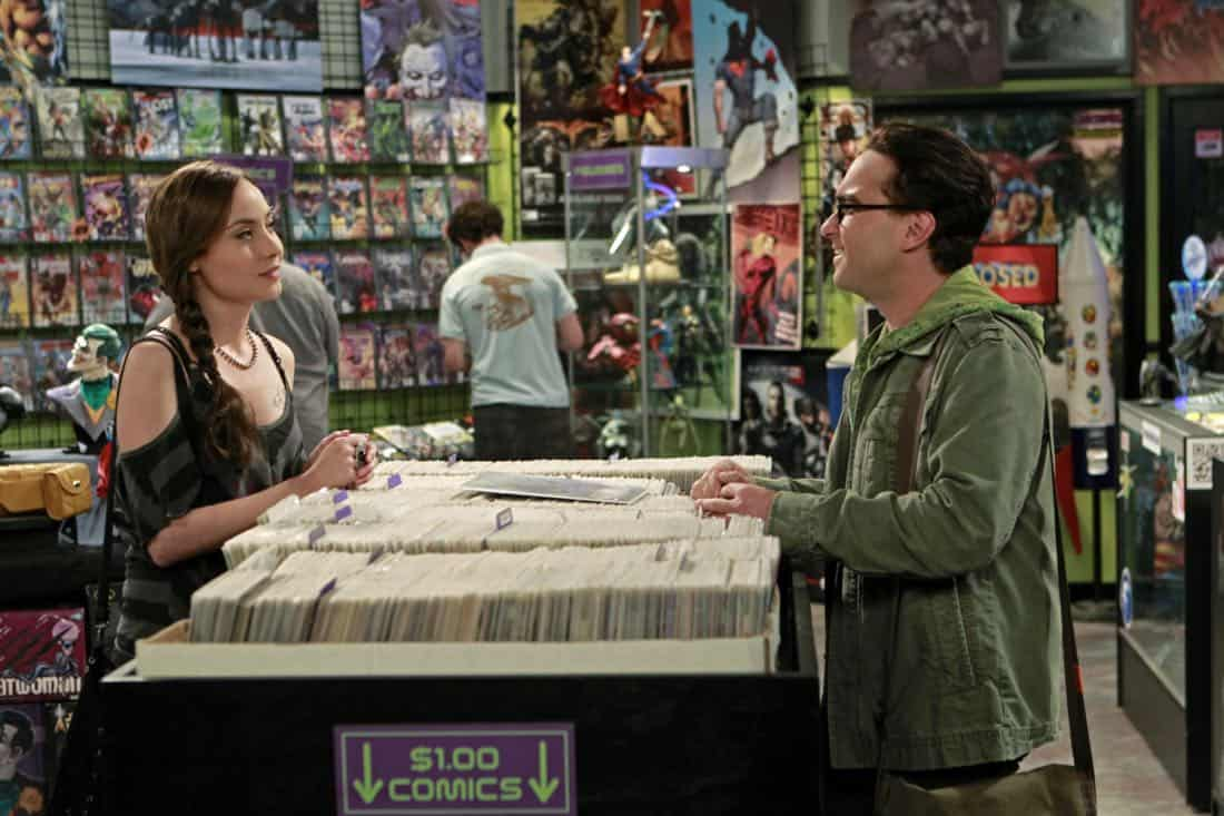 """""""The Good Guy Fluctuation"""" -- A cute comic book artist (Courtney Ford, left) puts Leonard (Johnny Galecki, right) and Priya's relationship to the test, while Sheldon tries to scare the guys for Halloween, on THE BIG BANG THEORY, Thursday Oct. 27 (8:00 - 8:31 PM, ET/PT) on the CBS Television Network.   Photo: Monty Brinton/CBS ©2011 CBS Broadcasting Inc. All Rights Reserved"""
