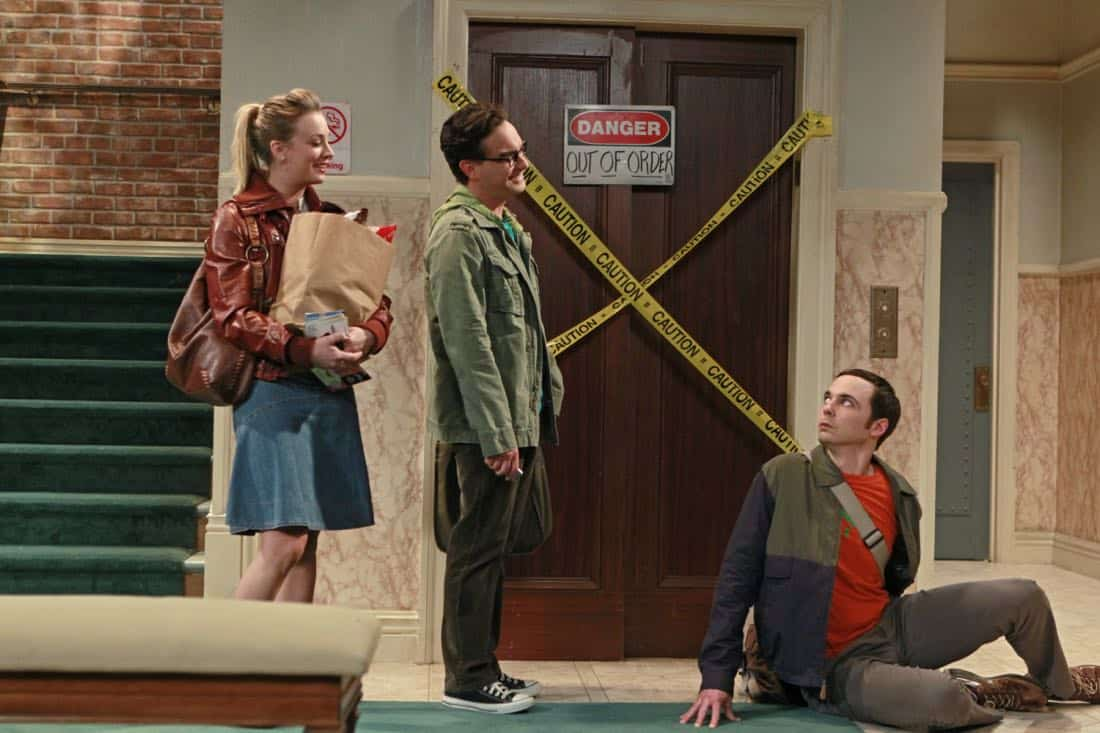 """""""The Good Guy Fluctuation"""" -- A cute comic book artist puts Leonard (Johnny Galecki, center) and Priya's relationship to the test, while Sheldon (Jim Parsons, right) tries to scare the guys for Halloween, on THE BIG BANG THEORY, Thursday Oct. 27 (8:00 - 8:31 PM, ET/PT) on the CBS Television Network.  Also pictured: Kaley Cuoco, left.  Photo: Monty Brinton/CBS  ©2011 CBS Broadcasting Inc. All Rights Reserved"""
