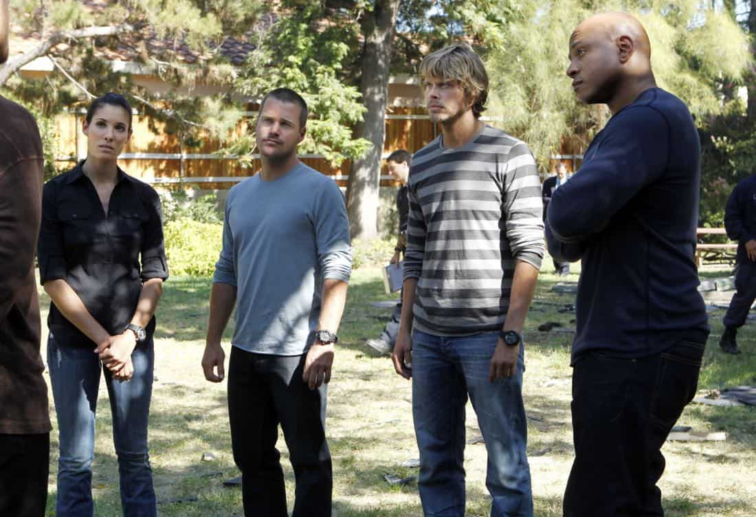 """Backstopped""-- Special Agent Kensi Blye (Daniela Ruah), Special Agent G. Callen (Chris O'Donnell), LAPD Detective Marty Deeks (Eric Christian Olsen) and Special Agent Sam Hanna (LL COOL J) race to locate stolen explosives somewhere in the city on NCIS: LOS ANGELES, Tuesday, Oct. 4 (9:00-10:00 PM, ET/PT) on the CBS Television Network. Photo: SONJA FLEMMING/CBS ©2011 CBS BROADCASTING INC. All Rights Reserved."