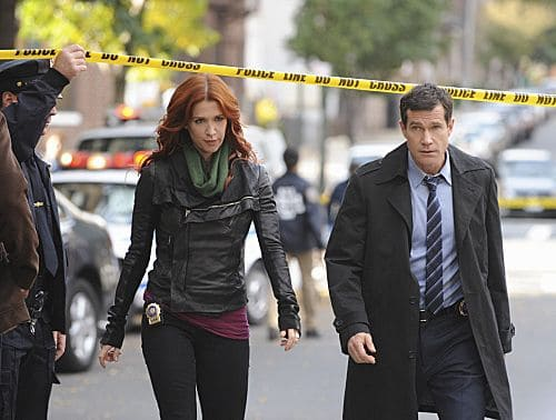 """Lost Things"" -- Carrie (Poppy Montgomery) and Al (Dylan Walsh) investigate the death of a public defender, only to discover that the killer has a larger plan which may lead to a second murder, on UNFORGETTABLE, Tuesday, Nov 8 (10:00 – 11:00 PM ET/PT) on the CBS Television Network Photo: Heather Wines/CBS ©2011 CBS Broadcasting, Inc. All Rights Reserved #Unforgettable"