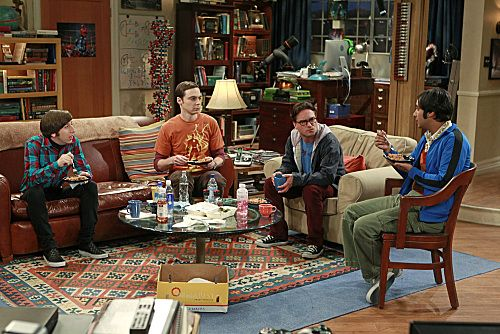 """The Isolation Permutation"" -- Amy is crushed when Bernadette and Penny go shopping for wedding dresses without her, on THE BIG BANG THEORY, Thursday, Nov. 3 (8:00 - 8:31 PM, ET/PT) on the CBS Television Network. Pictured left to right: Simon Helberg, Jim Parsons, Johnny Galecki and Kunal Nayyar Photo: Monty Brinton/CBS ©2011 CBS Broadcasting Inc. All Rights Reserved"