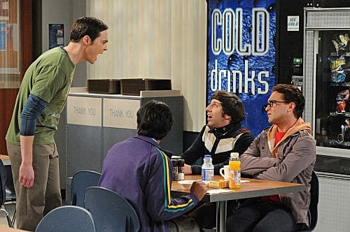 """The Isolation Permutation"" -- Amy is crushed when Bernadette and Penny go shopping for wedding dresses without her, on THE BIG BANG THEORY, Thursday, Nov. 3 (8:00 - 8:31 PM, ET/PT) on the CBS Television Network.  Pictured left to right: Jim Parsons,  Kunal Nayyar, Simon Helberg and Johnny Galecki Photo: Michael Yarish/Warner Bros.  ©2011 Warner Bros. Television. All Rights Reserved"