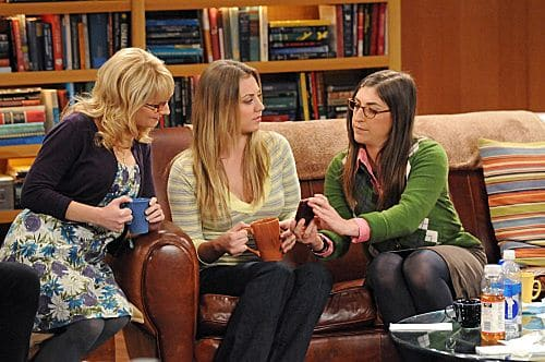 """The Isolation Permutation"" -- Amy (Mayim Bialik, right) is crushed when Bernadette (Melissa Rauch, left) and Penny (Kaley Cuoco, center) go shopping for wedding dresses without her, on THE BIG BANG THEORY, Thursday, Nov. 3 (8:00 - 8:31 PM, ET/PT) on the CBS Television Network.  Photo: Michael Yarish/Warner Bros.  ©2011 Warner Bros. Television. All Rights Reserved"