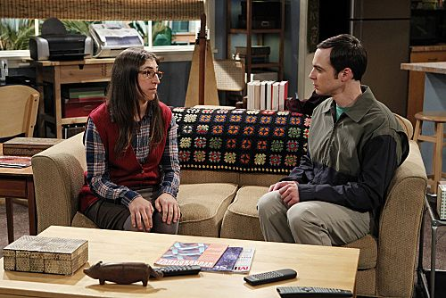 """The Rhinitis Revelation"" -- Sheldon (Jim Parsons, right) confers with Amy (Mayim Bialik, left) about his discomfort competing with the gang for his mother's attention when she comes to visit, on THE BIG BANG THEORY, Thursday Oct. 20 (8:00 - 8:31 PM, ET/PT) on the CBS Television Network.   Photo: Sonja Flemming/CBS ©2011 CBS Broadcasting Inc. All Rights Reserved"