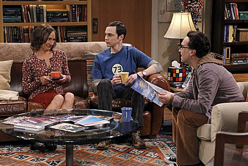 """The Rhinitis Revelation"" -- Sheldon (Jim Parsons, center) competes with Leonard (Johnny Galecki, right) and the gang for his mother's (Laurie Metcalf, left) attention when she comes to visit, on THE BIG BANG THEORY, Thursday Oct. 20 (8:00 - 8:31 PM, ET/PT) on the CBS Television Network. Photo: Sonja Flemming/CBS ©2011 CBS Broadcasting Inc. All Rights Reserved"
