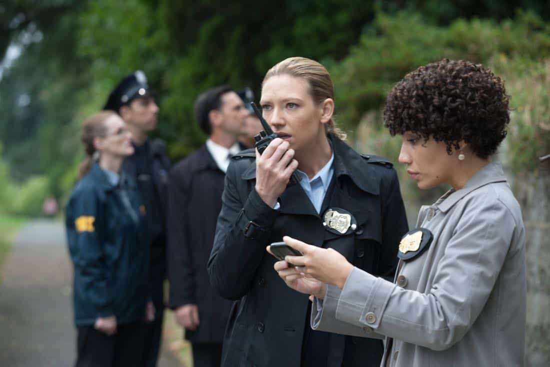 """FRINGE: Olivia (Anna Torv, L) and Astrid (Jasika Nicole, R) investigate a bizarre scene in the """"And Those We've Left Behind"""" episode of Fringe airing Friday, Nov. 11 (9:00-10:00 PM ET/PT) on FOX. ©2011 Fox Broadcasting Co. CR: Liane Hentscher/FOX"""