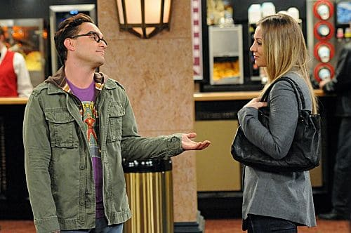 """The Ornithophobia Diffusion"" -- Leonard (Johnny Galecki, left) and Penny (Kaley Cuoco, right) try hanging out alone, and Sheldon must overcome his fear of birds, on THE BIG BANG THEORY, Thursday, Nov. 10 (8:00 - 8:31 PM, ET/PT) on the CBS Television Network. Photo: Michael Yarish/Warner Bros. © 2011 Warner Bros. Television. All Rights Reserved."