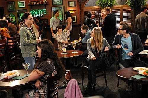 """The Ornithophobia Diffusion"" -- Leonard (Johnny Galecki, left) and Penny (Kaley Cuoco, center) try hanging out alone, and Sheldon must overcome his fear of birds, on THE BIG BANG THEORY, Thursday, Nov. 10 (8:00 - 8:31 PM, ET/PT) on the CBS Television Network. Also pictured: Blake Berris, right. Photo: Michael Yarish/Warner Bros. © 2011 Warner Bros. Television. All Rights Reserved."