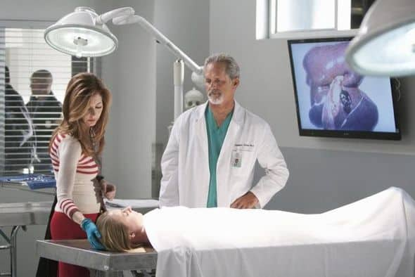 "BODY OF PROOF - ""Gross Anatomy"" - A murdered young woman's body turns up in place of a medical school cadaver during class, leaving Megan to rely on the aid of the star student to help solve the case, on ""Body of Proof,"" TUESDAY, NOVEMBER 29 (10:00-11:00 p.m., ET) on the ABC Television Network. (ABC/MICHAEL DESMOND) DANA DELANY, GREGORY HARRISON"