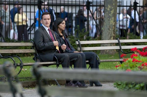 "WHITE COLLAR -- ""Judgement Day"" Episode 316 -- Pictured: (l-r) Tim DeKay as Peter Burke, Marsha Thomason as Diana Barrigan -- Photo by: David Giesbrecht/USA Network"