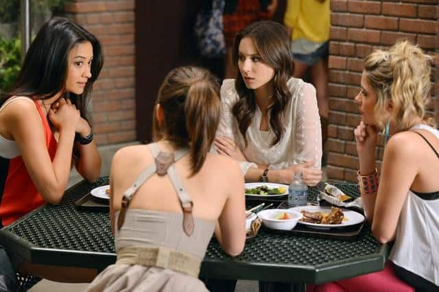 "PRETTY LITTLE LIARS - ""It Happened 'That Night"" - Coming up on the second anniversary of Alison's disappearance, Aria, Emily, Hanna and Spencer are thrown back into turmoil after one shocking night in ""It Happened 'That Night',"" the season three premiere of ABC Family's hit original series ""Pretty Little Liars,"" premiering Tuesday, June 5th (8:00 - 9:00 PM ET/PT). (ABC FAMILY/ERIC MCCANDLESS) SHAY MITCHELL, TROIAN BELLISARIO, ASHELY BENSON"