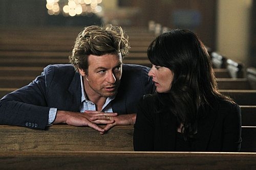 """The Crimson Hat"" -- After another failed attempt to defeat Red John, Patrick Jane (Simon Baker) hits rock bottom, finds a lover and shoots one of his own. Also pictured is Robin Tunney, on the fourth season finale of THE MENTALIST on Thursday, May 17 (10:00-11:00 p.m. ET/PT) on the CBS Television Network. Photo: Sonja Flemming/CBS ©2012 CBS Broadcasting, Inc. All Rights Reserved.  #WhereIsJane"