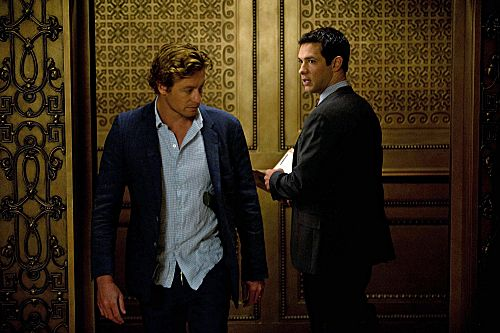 """The Crimson Hat"" --  After another failed attempt to defeat Red John, Patrick Jane (Simon Baker, left) hits rock bottom, finds a lover and shoots one of his own. Also pictured is Michael Rady, (left) on the fourth season finale OF THE MENTALIST on Thursday, May 17 (10:00-11:00 p.m. ET/PT) on the CBS Television Network. Photo: Colleen Hayes/Warner Bros. ©2012 Warner Bros. Television. All Rights Reserved.  #WhereIsJane"