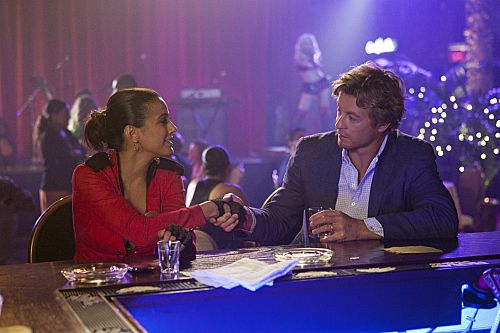 """The Crimson Hat"" -- Emmanuelle Chriqui guest stars as Lorelei Martins, a cocktail waitress Jane (Simon Baker) meets at a Las Vegas Night Club, on the fourth season finale of THE MENTALIST on Thursday, May 17 (10:00-11:00 p.m. ET/PT) on the CBS Television Network. Photo: Michael Desmond/CBS ©2012 CBS Broadcasting, Inc. All Rights Reserved.  #WhereIsJane"