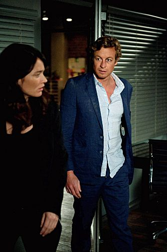 """The Crimson Hat"" -- After another failed attempt to defeat Red John, Patrick Jane (Simon Baker) hits rock bottom, finds a lover and shoots one of his own. Also pictured is Robin Tunney, on the fourth season finale of THE MENTALIST on Thursday, May 17 (10:00-11:00 p.m. ET/PT) on the CBS Television Network. Photo: Colleen Hayes/Warner Bros. ©2012 Warner Bros. Television. All Rights Reserved. #WhereIsJane"